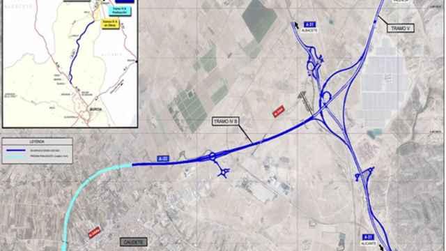 Mapa de los enlaces de Caudete Oeste y Este en Caudete. Foto: MITMA