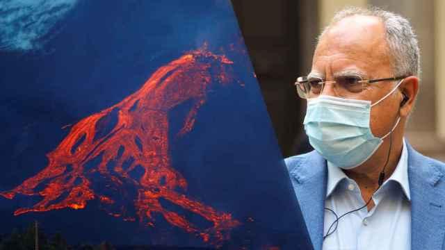 Casimiro Curbelo y el volcán de La Palma.