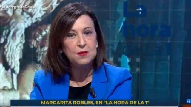 La ministra de Defensa, Margarita Robles, este jueves en TVE.