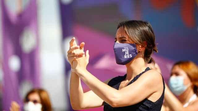 Irene Montero durante la Asamblea General de Podemos de junio.