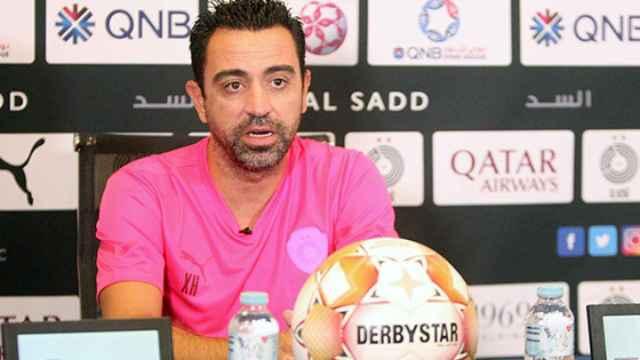 Xavi Hernández durante una rueda de prensa del Al-Sadd
