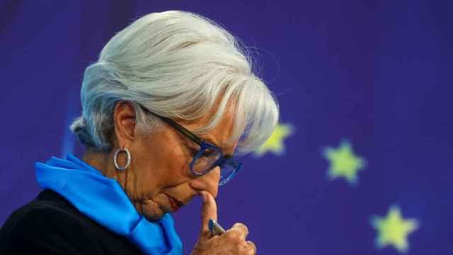 La presidenta del BCE, Christine Lagarde, durante la rueda de prensa de este jueves