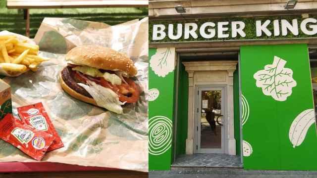 Vista exterior del primer Burger King vegetariano de España y uno de sus menús.